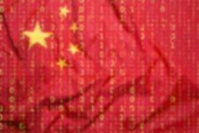 A chinese flag with matrix digits symbolizing a hacker attack