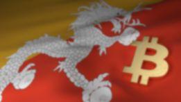 gold bitcoin symbol on a Bhutanese flag