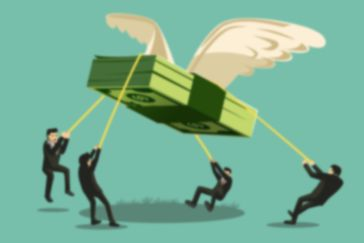 a stack of dollar bills with wings soaring up with businessmen in suits trying to hold it back down with ropes