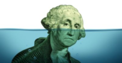 a picture of drowning George Washington symbolizing debt problems and keeping your financial head above water
