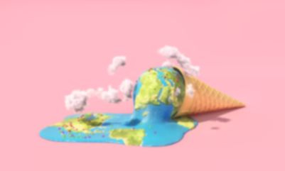 global warming is melting planet earth as an ice cream cone on the ground with a pink background