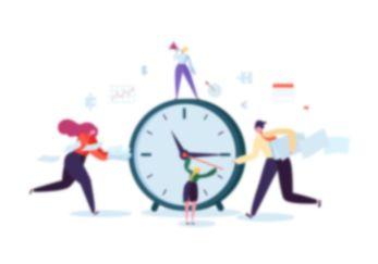 Comic-Figuren, die um eine riesige Uhr herumlaufen, mit Euro-, Dollar-, Puzzle- und Chart-Symbolen, die im Hintergrund schweben.