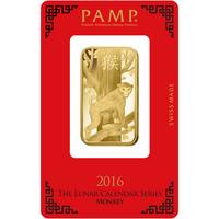 1 once lingotin d'or pur 999.9 - PAMP Suisse Lunar Singe
