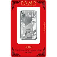 1 oz Silver Bar - PAMP Suisse Lunar Monkey