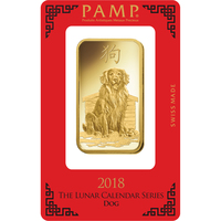 100 grammes lingotin d'or pur 999.9 - PAMP Suisse Lunar Chien
