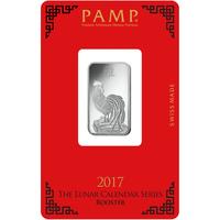 10 grammes lingotin d'argent - PAMP Suisse Lunar Coq