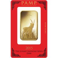 100 grammes lingotin d'or pur 999.9 - PAMP Suisse Lunar Chèvre