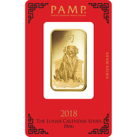 1 oz Fine Gold Bar 999.9 - PAMP Suisse Lunar Dog
