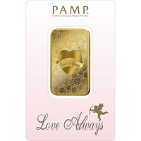 1 once lingotin d'or pur 999.9 - PAMP Suisse Love Always