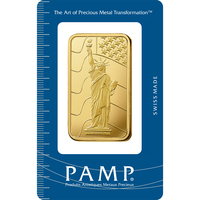 100 gram Fine Gold Bar 999.9 - PAMP Suisse Liberty