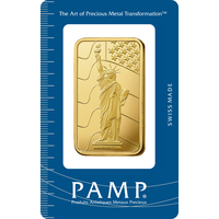 50 grammes lingotin d'or pur 999.9 - PAMP Suisse Liberty