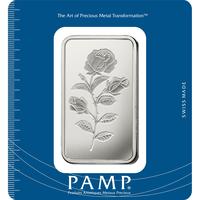 Lingotin d'argent de 100 grammes - PAMP Suisse Rosa