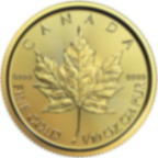 1/10 oz Fine Gold Coin 999.9 -  Maple Leaf BU Mixed Years