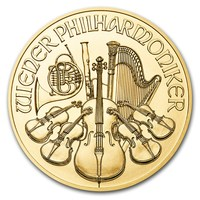 1 oz Fine Gold Coin 999.9 - Philharmonic BU Mixed Years
