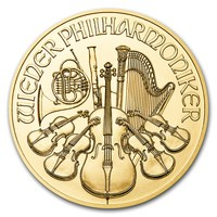 1/10 oz Fine Gold Coin 999.9 - Philharmonic BU Mixed Years
