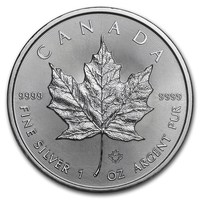 1 oz Fine Silver Coin 999.9 - Maple Leaf BU Mixed Years