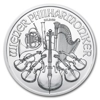 1 oz Fine Silver Coin 999.0 - Philharmonic BU Mixed Years