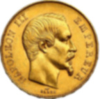 Pièce de monnaie d'or pur 900.0 -  50 Francs Napoléon III, Tête Nue 1855 A Paris