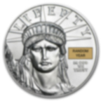 1/10 oz Fine Platinum Coin 999.5 - American Eagle Random year