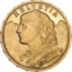 Fine Gold Coin 900.0 - 20 Swiss Francs Helvetia Vreneli Mixed Years