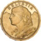 Pièce d'or pur 900.0 - Vreneli 20 Francs Suisse Helvetia Années Mixtes