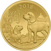 1 once pièce d'or pur 999.9 - Lunar Chien BU 2018
