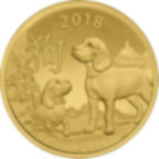 1/10 oz Fine Gold Coin 999.9 - Lunar Dog BU 2018