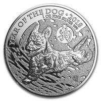 1 oz Silver Coin - Lunar Year of the Dog BU 2018