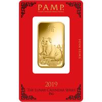 1 once lingotin d'or pur 999.9 - PAMP Suisse Lunar Cochon