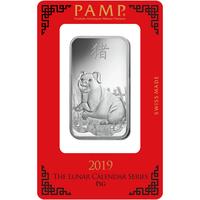 Lingotin d'argent de 1 once - PAMP Suisse Lunar Cochon