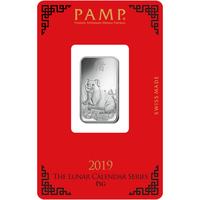 10 gram Silver Bar - PAMP Suisse Lunar Pig