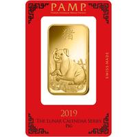 100 grammes lingotin d'or pur 999.9 - PAMP Suisse Lunar Cochon