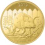 1 oncia moneta d'oro puro 999.9 - Lunar Maiale BU 2019