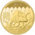 1/10 oncia moneta d'oro puro 999.9 - Lunar Maiale BU 2019