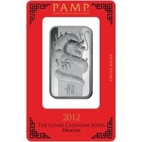 Lingotin d'argent de 1 once - PAMP Suisse Lunar Dragon