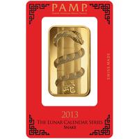 100 grammes lingotin d'or pur 999.9 - PAMP Suisse Lunar Serpent