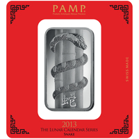100 Gramm Silberbarren - PAMP Suisse Lunar Schlange