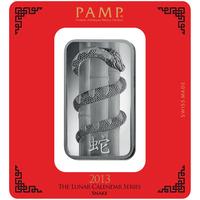100 grammi lingottino d'argento - PAMP Suisse Serpente Lunare