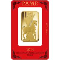 100 grammes lingotin d'or pur 999.9 - PAMP Suisse Lunar Cheval