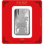 100 Gramm FeinSilberbarren 999.0 - PAMP Suisse Lunar Pferd