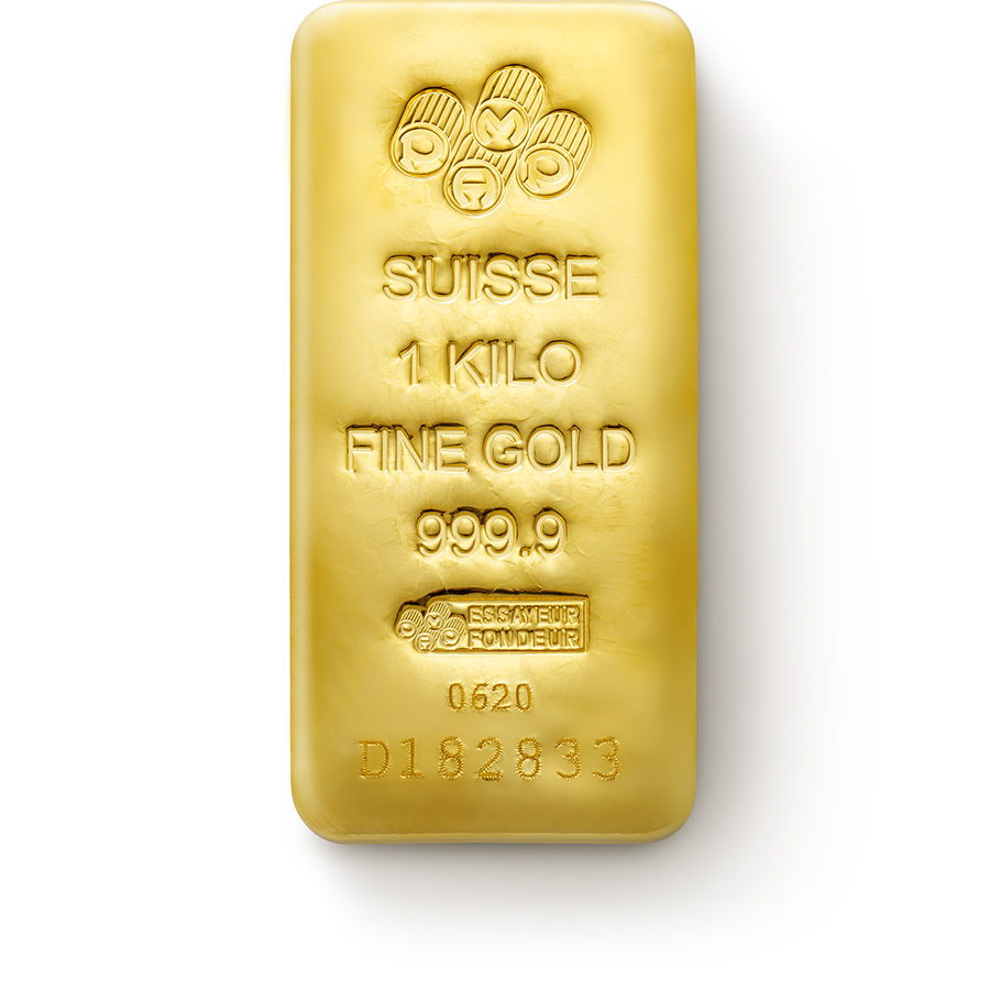 Invest in 1kg Fine Gold Cast Bar - PAMP Swiss - Front