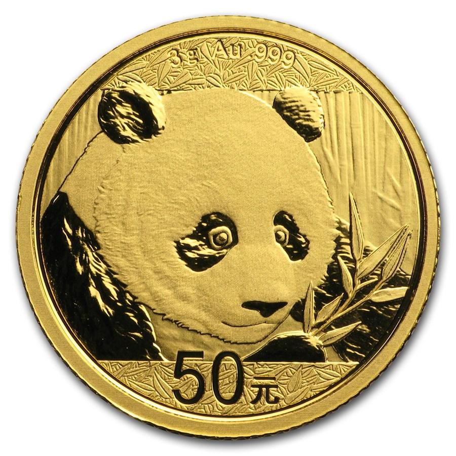 3 grammi moneta d'oro puro 999.9 - Panda BU 2018