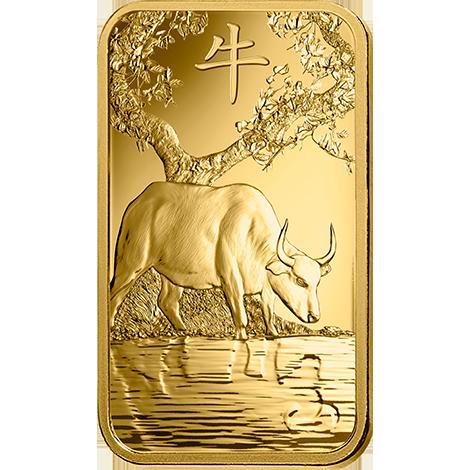 Investir dans l'or, 1 once Lingotin, Lingot d'or pur Lunar Boeuf - PAMP Suisse - Front