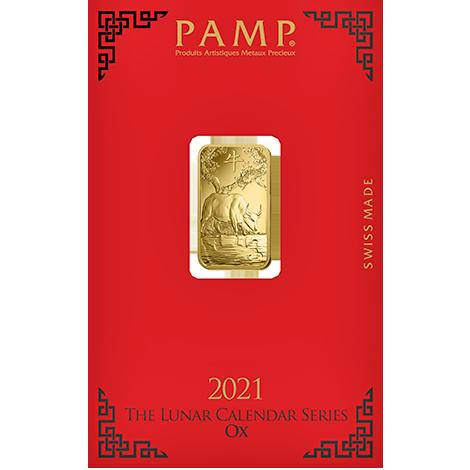 Investir dans l'or, 5 grammes Lingotin, Lingot d'or pur Lunar Boeuf - PAMP Suisse