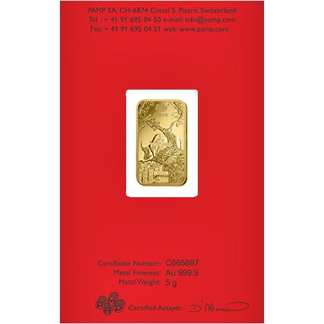 Investir dans l'or, 5 grammes Lingotin, Lingot d'or pur Lunar Boeuf - PAMP Suisse - Back