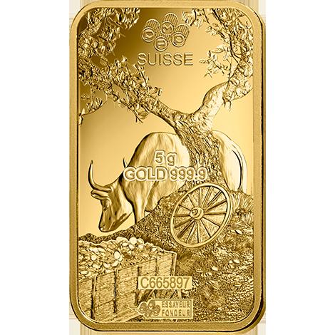 Achat d'or 5 grammes Lingotin, Lingot d'or pur Lunar Boeuf - PAMP Suisse - Back