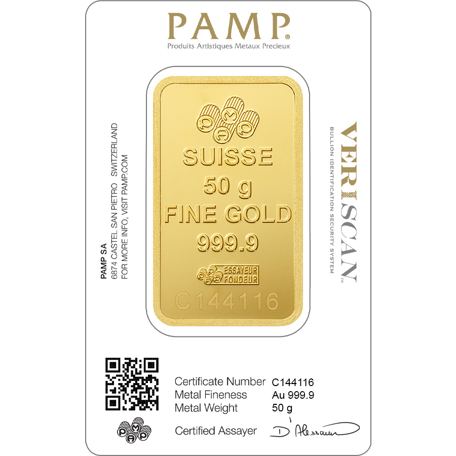 Kaufen Sie Gold, 50 Gramm FeinGoldbarren Lady Fortuna - PAMP Swiss - Veriscan - Back