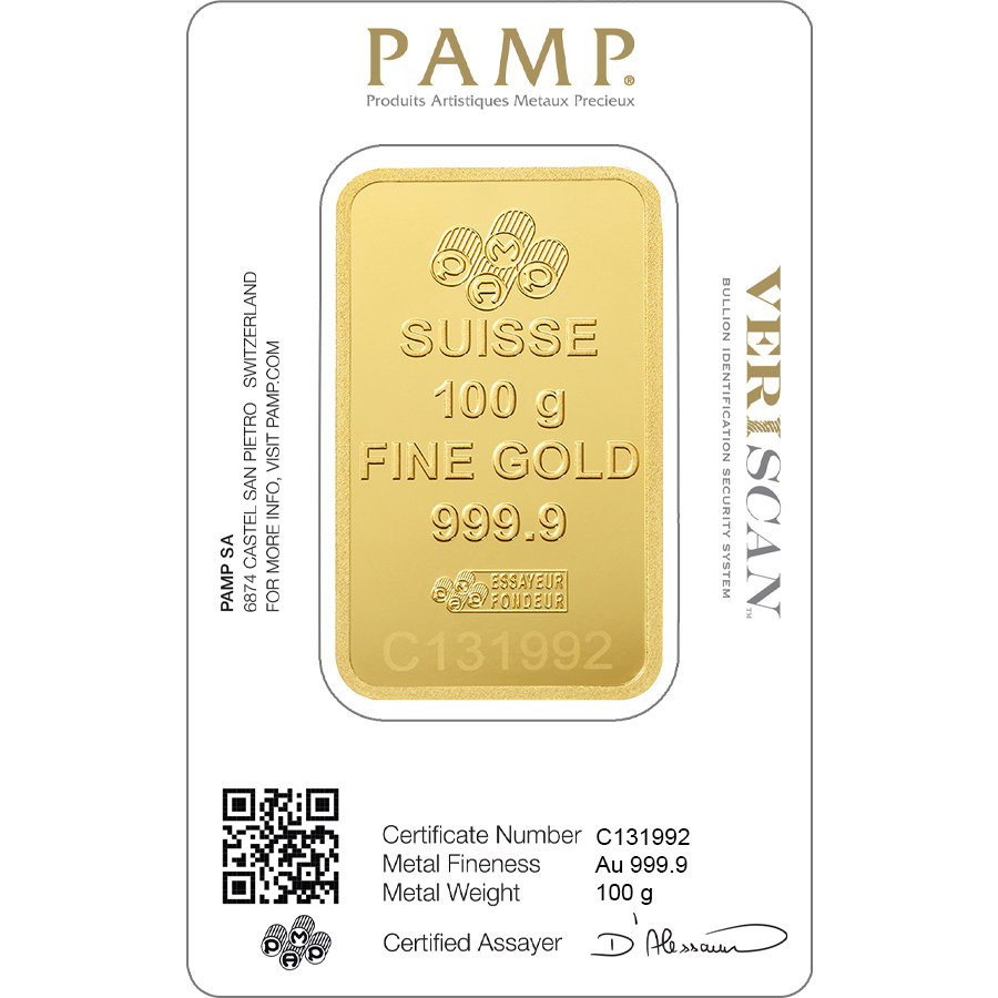 Invest in 100 grams Fine gold Lady Fortuna - PAMP Swiss - Veriscan - Back