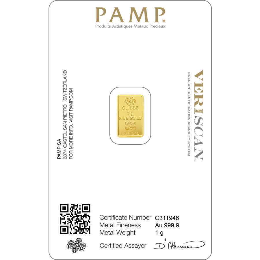 Investire in 1 grammo lingottino d'oro puro 999.9 - PAMP Suisse Lady Fortuna - Veriscan - Back