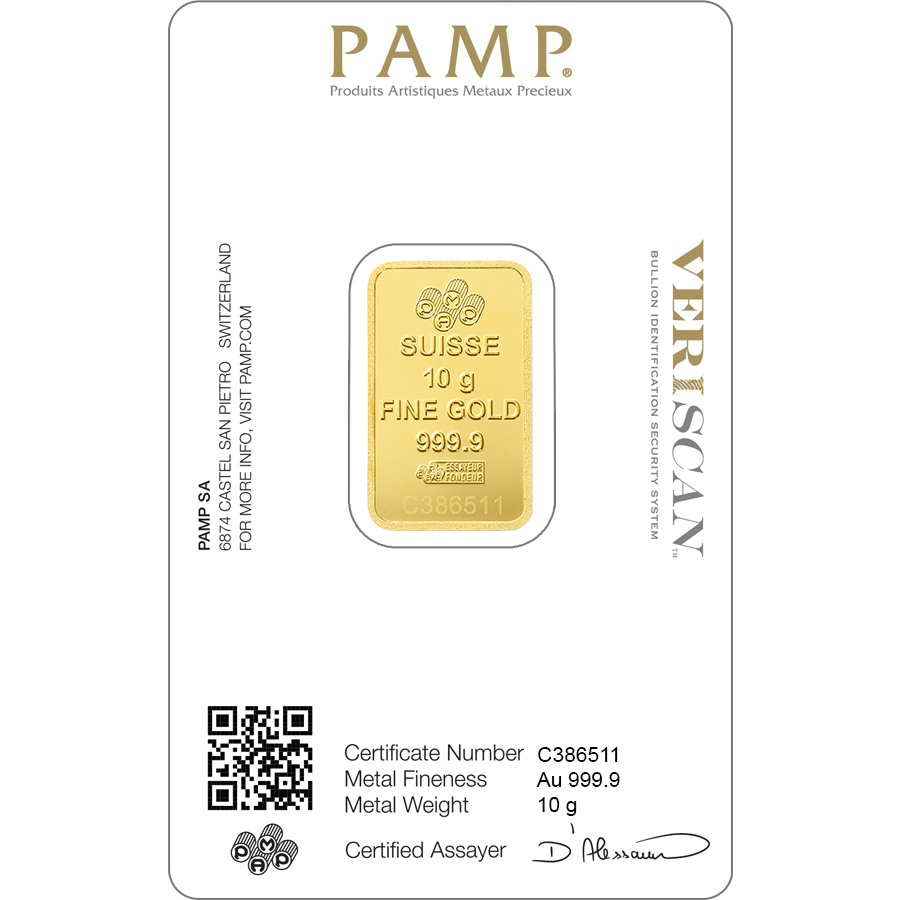 Buy 10 grams Fine gold Lady Fortuna - PAMP Swiss - Veriscan - Back